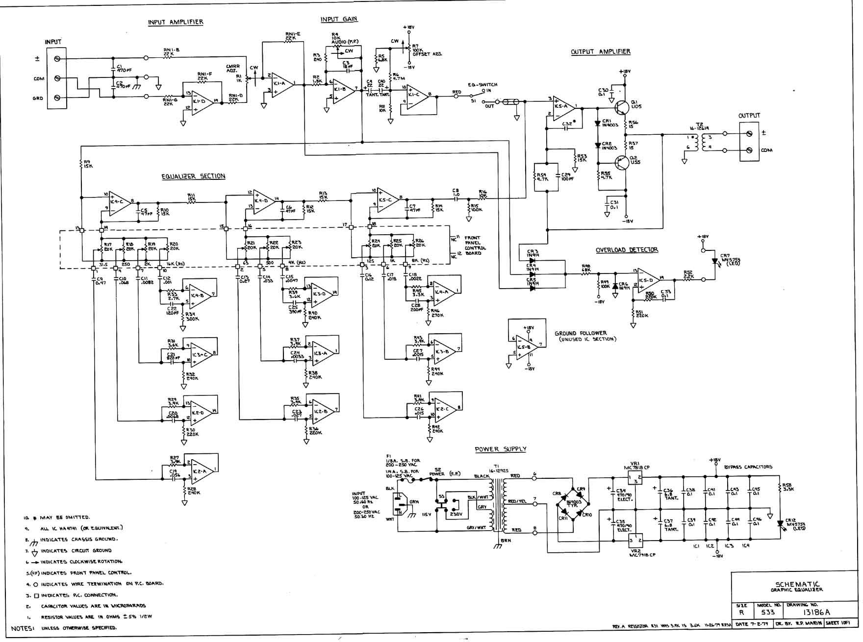 Electronics Wiring Diagrams Schematic : Urei equalizer schematic